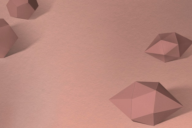 3d brown elongated hexagonal bipyramid and gray pentagon dodecahedron design element