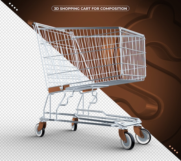 3d brown isolated shopping cart isolated