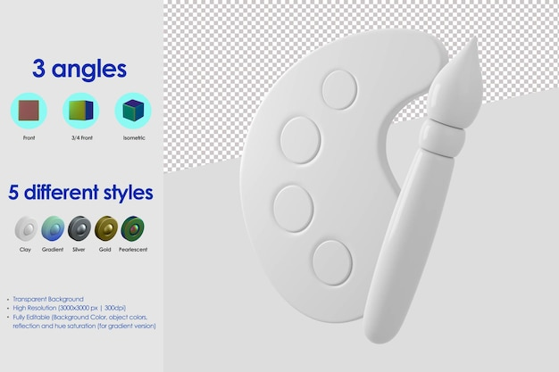3d 브러시 및 페인트 팔레트 아이콘