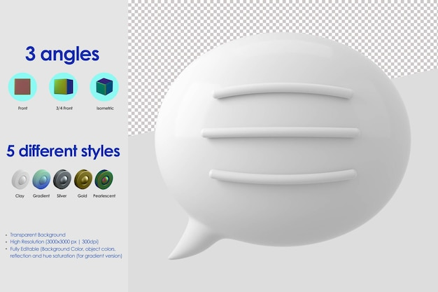 3d bubble speech with text lines icon
