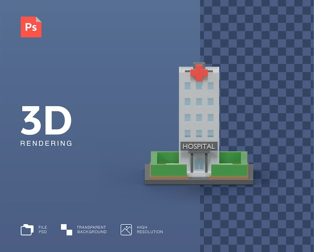 3d визуализация здания больницы