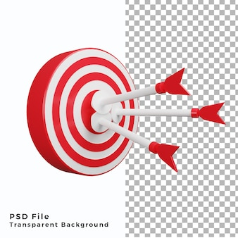 3d bullseye illustration icon three arrow high quality