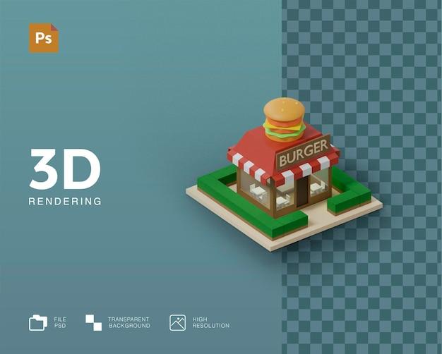 3dハンバーガーの建物のイラストのレンダリング