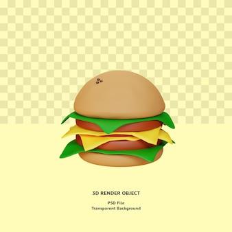 3d 햄버거 illustratin 개체 렌더링 프리미엄 psd