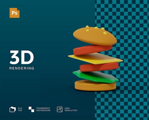 고립 된 3d 햄버거 렌더링