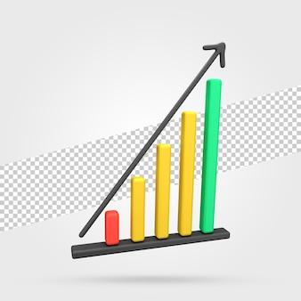 3d 비즈니스 성장 차트 아이콘 렌더링