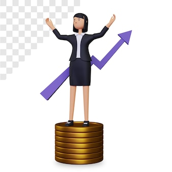 実業家のキャラクターと金貨で3dビジネスの成長