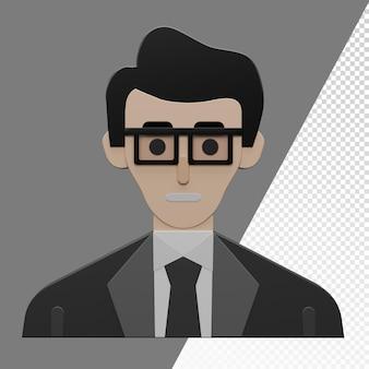 3d business man character transparent template