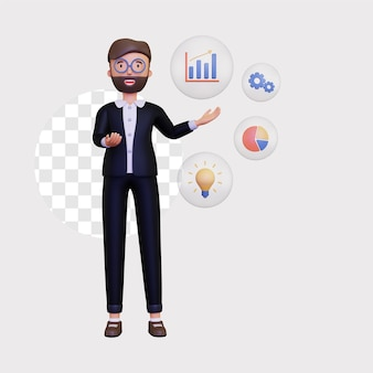 3d бизнес-презентация со значком бизнеса внутри пузыря