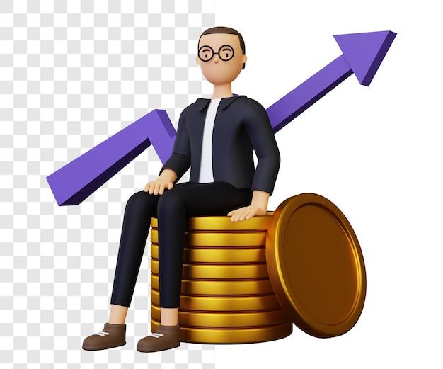 Иллюстрация роста доходов бизнеса 3d