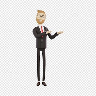 3-й бизнесмен в очках демонстрирует что-то, показывает изолированный 3d-персонаж