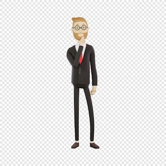 3d бизнесмен в очках внимательно слушает, отражает изолированный 3d персонаж