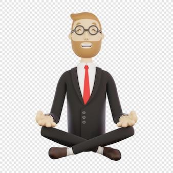 眼鏡をかけた3dビジネスマンは蓮華座で瞑想する孤立した3dキャラクター