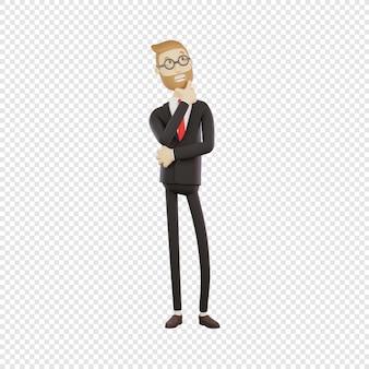 안경을 쓴 3d 사업가는 생각하는 것이 고립된 3d 캐릭터 문제를 해결한다고 생각합니다.