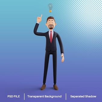 アイデアプレミアムpsdを持っている3dビジネスマンキャラクター