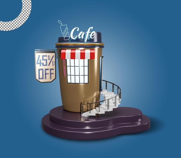 3d cafe or coffee restaurant shop building premium design