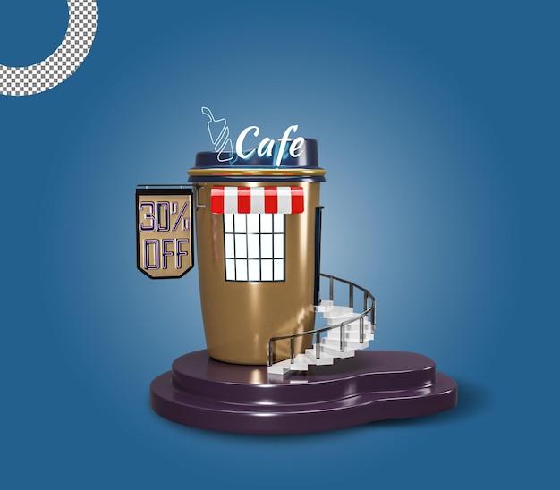 3d-кафе или кафе-ресторан, здание премиум-класса