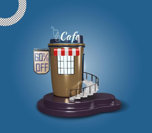 3d 카페 또는 커피 레스토랑 숍 건물 프리미엄 디자인