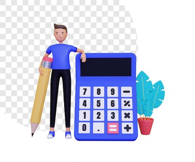 3d-калькулятор с человеком, стоящим и держащим карандаш