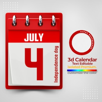 3d calendar for commemorative dates psd premium