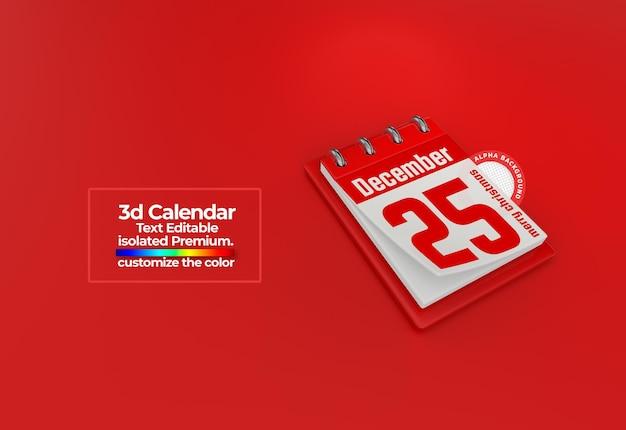 기념일을 위한 3d 달력 psd 프리미엄