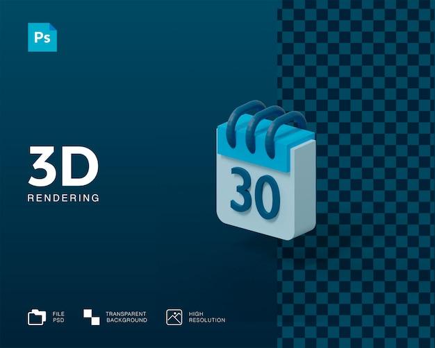 3d calendar rendering isolated