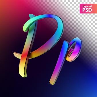 3d каллиграфическое письмо цвета радуги