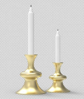 3d candles isolated. isometric front view. transparent wall. premium 3d.