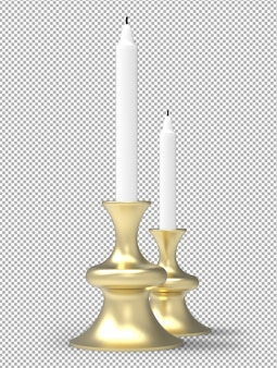 3d candles isolated. isometric lateral view. transparent wall. premium 3d.
