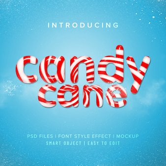3d candy cane font style effect mockup
