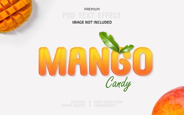 Редактируемый 3d текстовый эффект манго candy