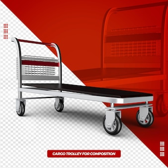 3d cargo trolley isolated for composition