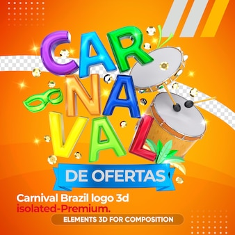 3d carnival logo with instruments in 3d rendering