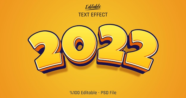 3d cartoon 2022 편집 가능한 텍스트 효과
