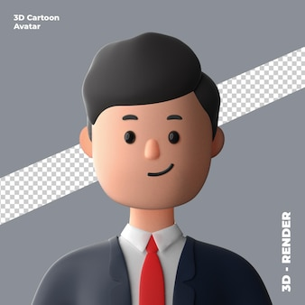 3d cartoon avatar isolated in 3d rendering