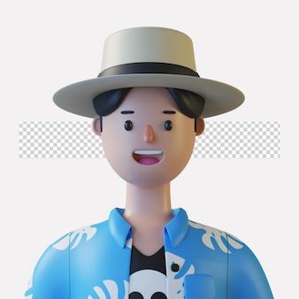 3d аватар мультипликационного персонажа, изолированный в 3d-рендеринге