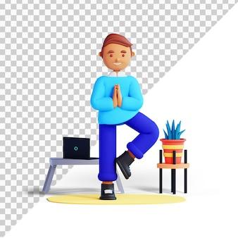 3d мультипликационный персонаж упражнение break man