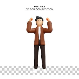 3d мультипликационный персонаж позы счастлив премиум psd