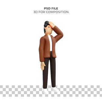 3d мультипликационный персонаж поза грустный premium psd