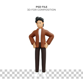 3d 만화 캐릭터 슬픈 포즈 premium psd