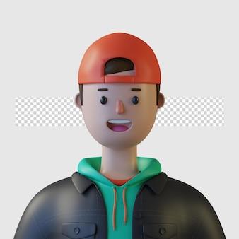 3d мультипликационный персонаж с джинсовой курткой, изолированной в 3d-рендеринге