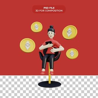 3d мультяшный персонаж с монетой эфириума премиум psd