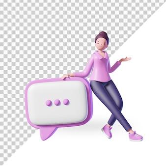 3d женский персонаж мультфильма со значком чата