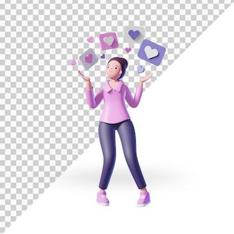 3d женский персонаж мультфильма с лайками в instagram