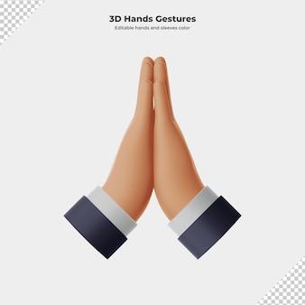 3d мультфильм жест рукой 3d рендеринг