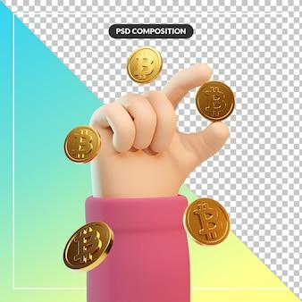 3d cartoon hand gesture with btc coin