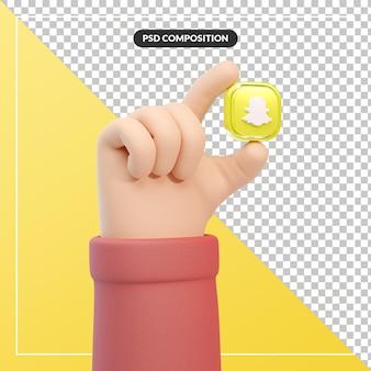 Snapchat 로고 아이콘이 있는 3d 만화 손 제스처