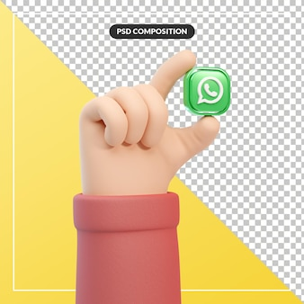 3d cartoon hand gesture with whatsapp logo icon