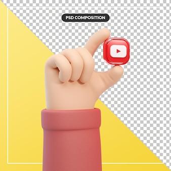 Youtube 로고 아이콘이 있는 3d 만화 손 제스처