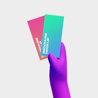 3d мультфильм рука с макетом брошюры